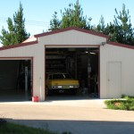 American Barn workshop with 2 roller doors