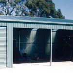 Farm shed with open and closed bays