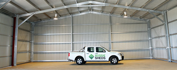 Aussie Sheds car inside commercial shed